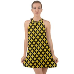 Circles3 Black Marble & Yellow Colored Pencil Halter Tie Back Chiffon Dress by trendistuff