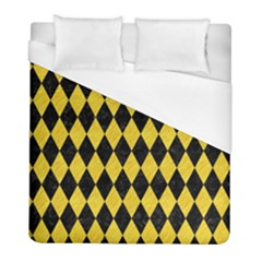 Diamond1 Black Marble & Yellow Colored Pencil Duvet Cover (full/ Double Size) by trendistuff