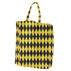 Diamond1 Black Marble & Yellow Colored Pencil Giant Grocery Zipper Tote by trendistuff