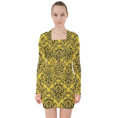 Damask1 Black Marble & Yellow Colored Pencil V Neck Bodycon Long Sleeve Dress
