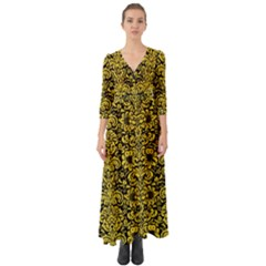 Damask2 Black Marble & Yellow Colored Pencil (r) Button Up Boho Maxi Dress