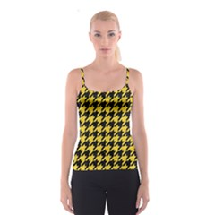 Houndstooth1 Black Marble & Yellow Colored Pencil Spaghetti Strap Top