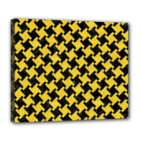 Houndstooth2 Black Marble & Yellow Colored Pencil Deluxe Canvas 24  X 20   by trendistuff