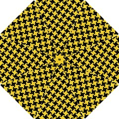 Houndstooth2 Black Marble & Yellow Colored Pencil Hook Handle Umbrellas (small) by trendistuff