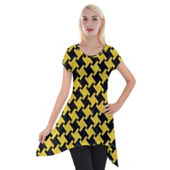 Houndstooth2 Black Marble & Yellow Colored Pencil Short Sleeve Side Drop Tunic by trendistuff