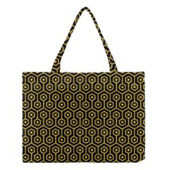 Hexagon1 Black Marble & Yellow Colored Pencil (r) Medium Tote Bag by trendistuff