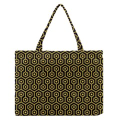 Hexagon1 Black Marble & Yellow Colored Pencil (r) Zipper Medium Tote Bag by trendistuff