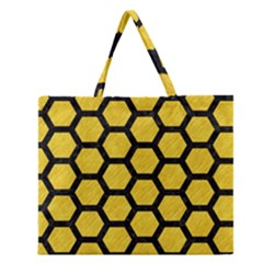 Hexagon2 Black Marble & Yellow Colored Pencil Zipper Large Tote Bag by trendistuff