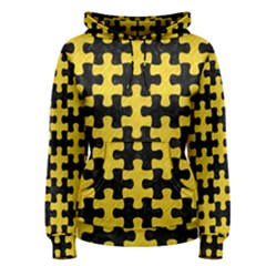 Puzzle1 Black Marble & Yellow Colored Pencil Women s Pullover Hoodie