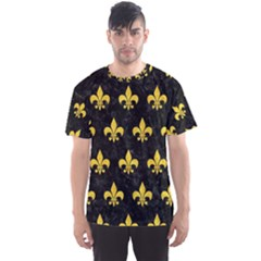 Royal1 Black Marble & Yellow Colored Pencil Men s Sports Mesh Tee