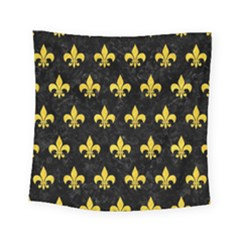 Royal1 Black Marble & Yellow Colored Pencil Square Tapestry (small)