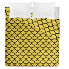 Scales1 Black Marble & Yellow Colored Pencil Duvet Cover Double Side (queen Size) by trendistuff