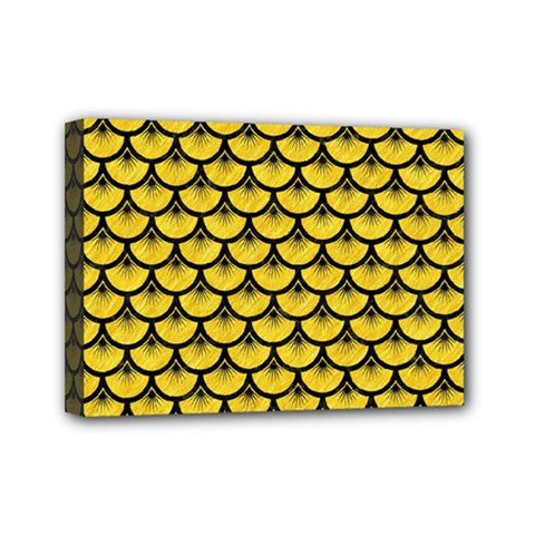 Scales3 Black Marble & Yellow Colored Pencil Mini Canvas 7  X 5  by trendistuff