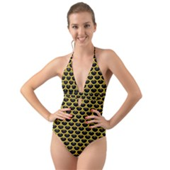 Scales3 Black Marble & Yellow Colored Pencil (r) Halter Cut Out One Piece Swimsuit by trendistuff