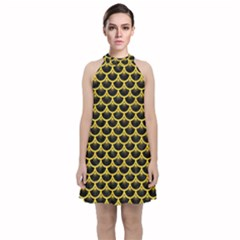 Scales3 Black Marble & Yellow Colored Pencil (r) Velvet Halter Neckline Dress