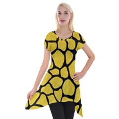 Skin1 Black Marble & Yellow Colored Pencil (r) Short Sleeve Side Drop Tunic
