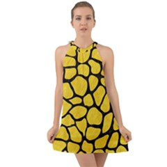 Skin1 Black Marble & Yellow Colored Pencil (r) Halter Tie Back Chiffon Dress