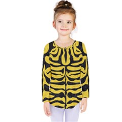 Skin2 Black Marble & Yellow Colored Pencil Kids  Long Sleeve Tee