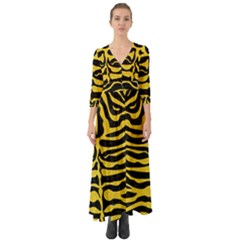 Skin2 Black Marble & Yellow Colored Pencil (r) Button Up Boho Maxi Dress