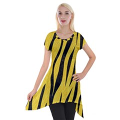 Skin3 Black Marble & Yellow Colored Pencil Short Sleeve Side Drop Tunic