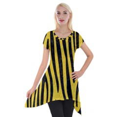 Skin4 Black Marble & Yellow Colored Pencil (r) Short Sleeve Side Drop Tunic