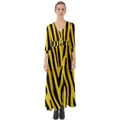 Skin4 Black Marble & Yellow Colored Pencil (r) Button Up Boho Maxi Dress