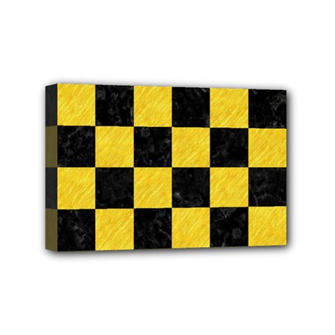 Square1 Black Marble & Yellow Colored Pencil Mini Canvas 6  X 4  by trendistuff