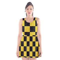 Square1 Black Marble & Yellow Colored Pencil Scoop Neck Skater Dress by trendistuff