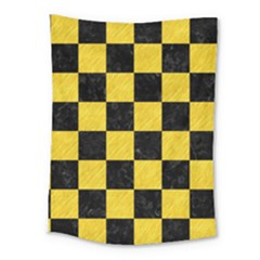 Square1 Black Marble & Yellow Colored Pencil Medium Tapestry