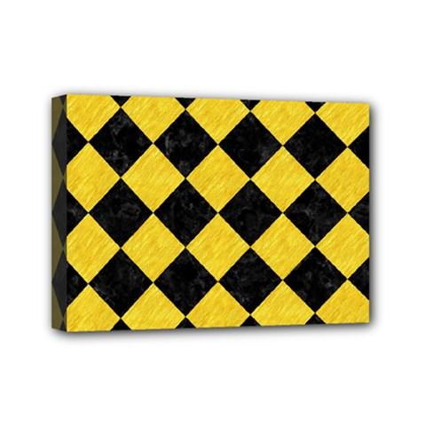 Square2 Black Marble & Yellow Colored Pencil Mini Canvas 7  X 5  by trendistuff