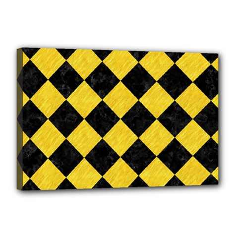 Square2 Black Marble & Yellow Colored Pencil Canvas 18  X 12  by trendistuff