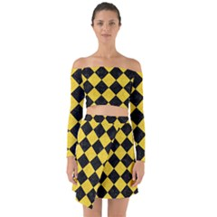 Square2 Black Marble & Yellow Colored Pencil Off Shoulder Top With Skirt Set