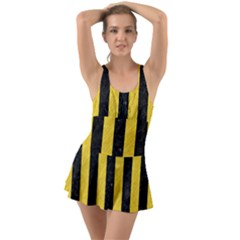 Stripes1 Black Marble & Yellow Colored Pencil Swimsuit