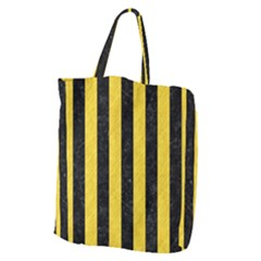 Stripes1 Black Marble & Yellow Colored Pencil Giant Grocery Zipper Tote by trendistuff