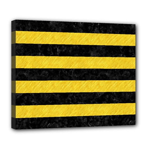 Stripes2 Black Marble & Yellow Colored Pencil Deluxe Canvas 24  X 20   by trendistuff