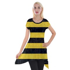 Stripes2 Black Marble & Yellow Colored Pencil Short Sleeve Side Drop Tunic