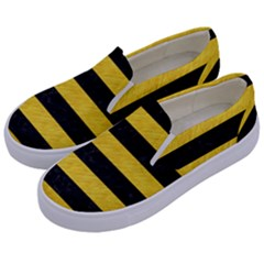 Stripes2 Black Marble & Yellow Colored Pencil Kids  Canvas Slip Ons by trendistuff
