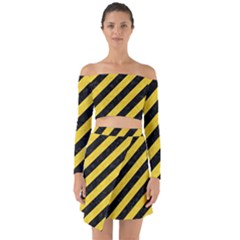 Stripes3 Black Marble & Yellow Colored Pencil (r) Off Shoulder Top With Skirt Set