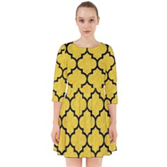 Tile1 Black Marble & Yellow Colored Pencil Smock Dress