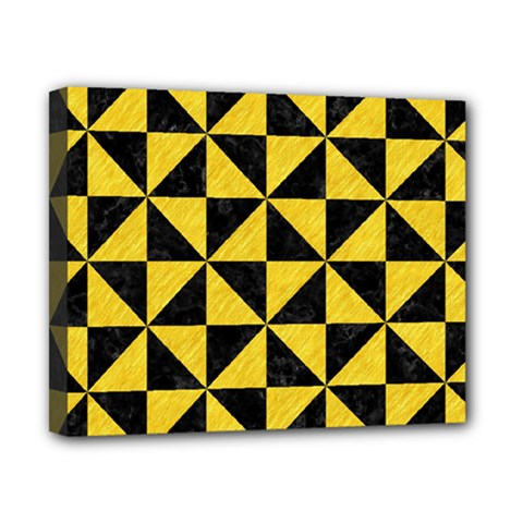 Triangle1 Black Marble & Yellow Colored Pencil Canvas 10  X 8  by trendistuff