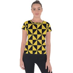 Triangle1 Black Marble & Yellow Colored Pencil Short Sleeve Sports Top