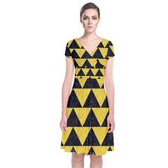Triangle2 Black Marble & Yellow Colored Pencil Short Sleeve Front Wrap Dress