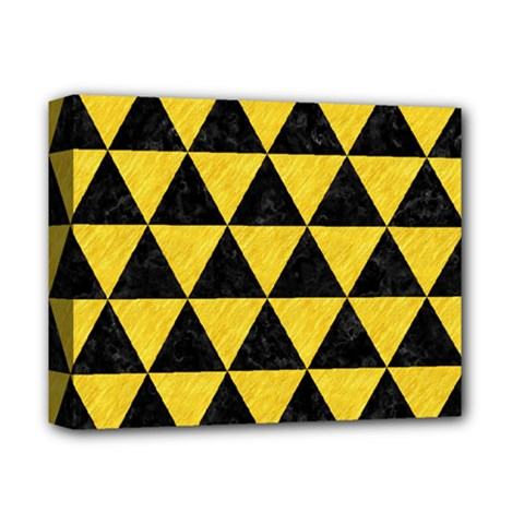 Triangle3 Black Marble & Yellow Colored Pencil Deluxe Canvas 14  X 11  by trendistuff