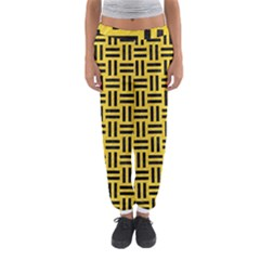 Woven1 Black Marble & Yellow Colored Pencil Women s Jogger Sweatpants by trendistuff