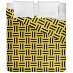 Woven1 Black Marble & Yellow Colored Pencil Duvet Cover Double Side (california King Size) by trendistuff