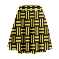 Woven1 Black Marble & Yellow Colored Pencil (r) High Waist Skirt by trendistuff