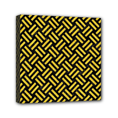 Woven2 Black Marble & Yellow Colored Pencil (r) Mini Canvas 6  X 6  by trendistuff