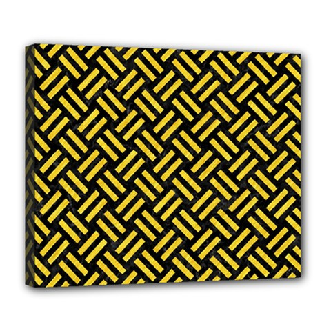 Woven2 Black Marble & Yellow Colored Pencil (r) Deluxe Canvas 24  X 20   by trendistuff