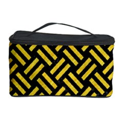 Woven2 Black Marble & Yellow Colored Pencil (r) Cosmetic Storage Case by trendistuff