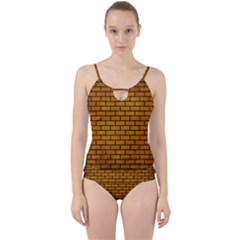 Brick1 Black Marble & Yellow Grunge Cut Out Top Tankini Set